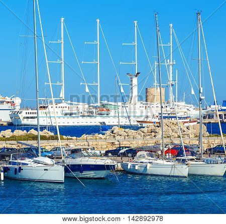 Boats in Mandraki Harbor. Rhodes Town, Rhodes Greece