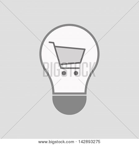 Isolated Line Art Light Bulb Icon With A Shopping Cart