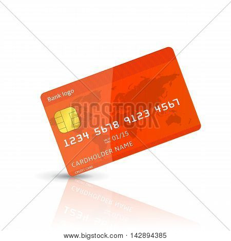 Detailed vector realistic illustration of a plastic credit card isolated on white. red vector plastic card with shadow and reflection