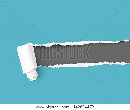 Torn paper with space for your message, realistic vector illustration. Paper frame for text. Blue torn paper over dark background