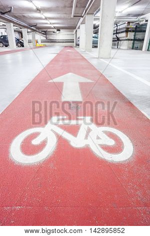 Underground park for cars and bicycles whit sign