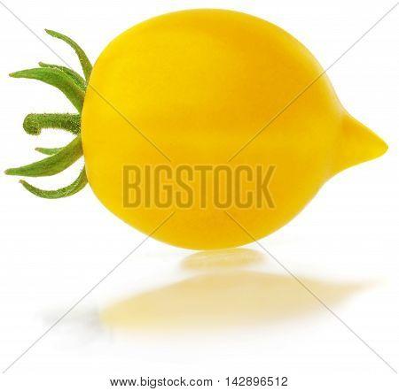 Fresh yellow Tomato isolated on white background.