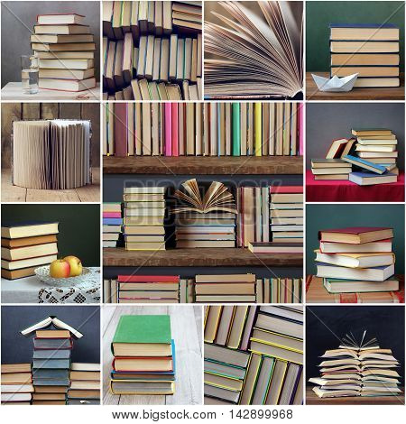 A collage of still lifes with books. Library books on a shelf.