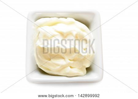 Mayonnaise or Sour Cream in a White Square Bowl