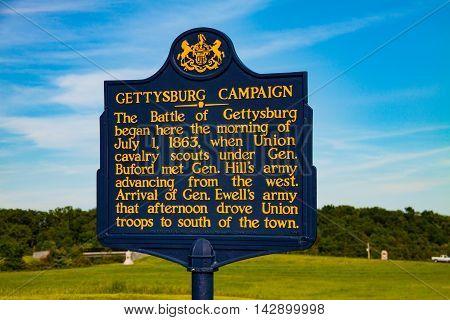 Gettysburg PA - May 16 2010: The Pennsylvania Historic Marker describing the Gettysburg Campaign.