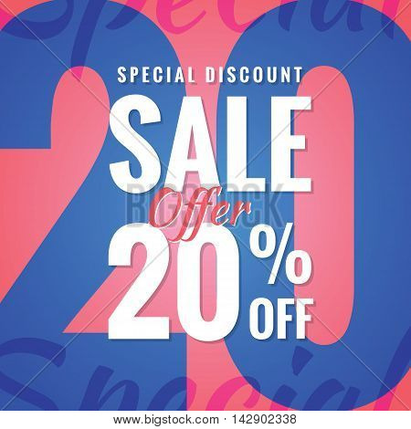 Special Discount Sale 20 Percent Heading Simple Modern Design For Banner Or Poster. Sale And Discoun
