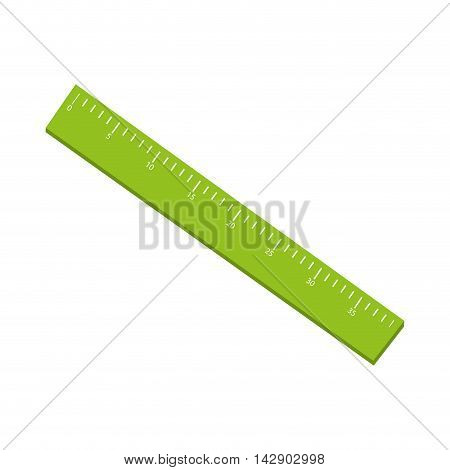 ruler school object scale education instrument centimeter green vector illustration isolated