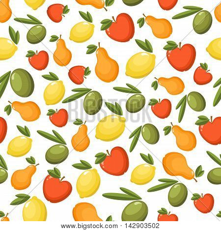 Vector Seamless Pattern With Fresh Fruits.