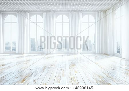 Front view of unfurnished bright interior with wooden floor curtains and tall windows with city view. 3D Rendering