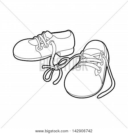 Tied shoes joke icon in outline style isolated on white background. Funny symbol