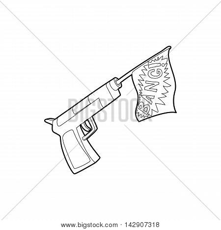 Gun with flag toy icon in outline style isolated on white background. Joke symbol