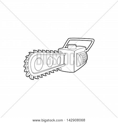 Chainsaw icon in outline style isolated on white background. Saw symbol