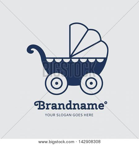 Blue baby carriage on a grey background. Logo design vector template. Symbol concept icon.