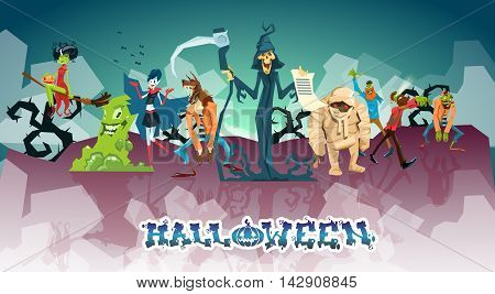 Halloween Monsters Collection Set Zombie Vampire Ghost Death Grim Reaper Werewolf Flat Vector Illustration