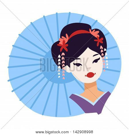 Vector set of kokeshi dolls japanese geisha girls. Colorful kimono pretty traditional woman beautiful makeup japanese geisha girls. Japanese geisha girls fashion culture beauty art.