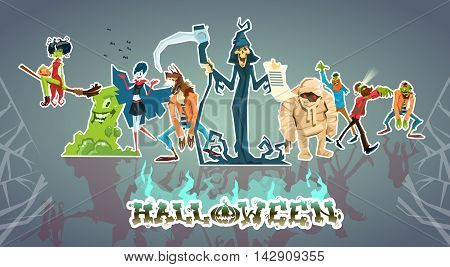 Halloween Monsters Collection Set Zombie Vampire Ghost Death Grim Reaper Werewolf Flat Vector Illustration