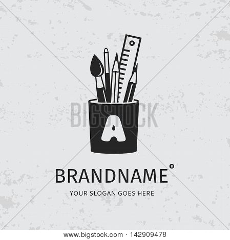 Black brush, pencil, pen and ruler in the holder on a grunge background. Logo design vector template. Symbol concept icon.