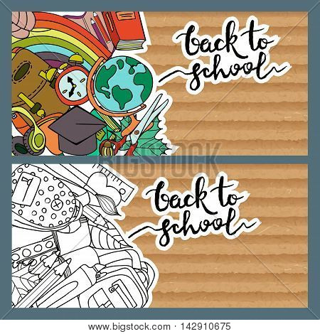 Set Of Back To School Banners With Old Cardboard Background.