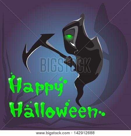 Grim Reaper Hold Scythe Happy Halloween Banner Greeting Card Flat Vector Illustration