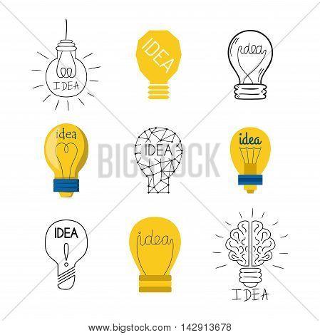 Drawing idea light bulb concept creative design. Vector Idea lamp innovation electric creativity inspiration concept. Bright idea lamp icon symbol solution lightbulb. Creative idea concept