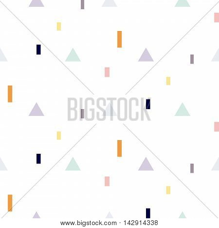 Vector seamless pattern with geometric shapes. Blue triangles and orange rectangles fine print white background.