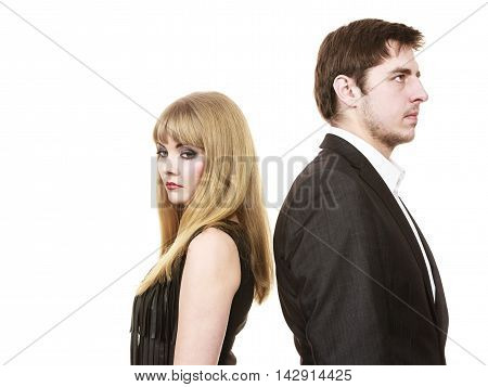 Argument and disagreement concept. Young elegant marriage with troubles problems. Depressed thoughtful worried couple after argue in separation.