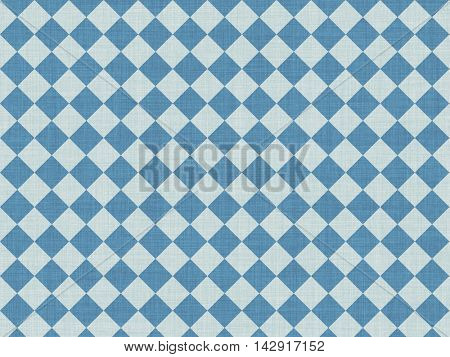 White and blue chess squares on cotton canvas