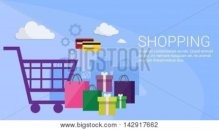 Online Shopping Banner Ecommerce Concept Flat Vector Illustration