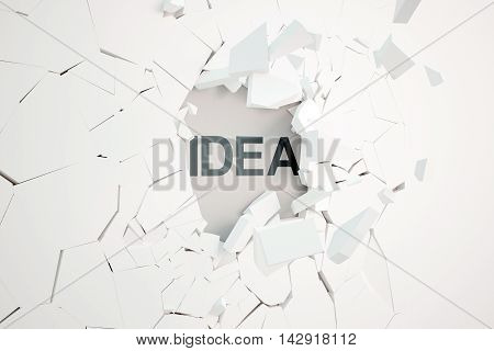 Idea concept with broken concrete wall and text. 3D Rendering
