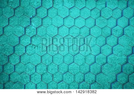 Turquoise concrete honeycomb/hexagon pattern background. 3D Rendering