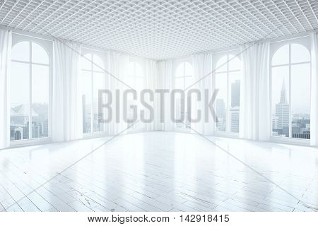 Side view of unfurnished bright interior with light wooden floor curtains and tall windows with city view. 3D Rendering