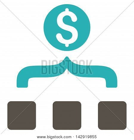 Money Aggregator icon. Vector style is bicolor flat iconic symbol with rounded angles, grey and cyan colors, white background.