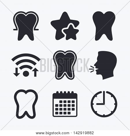 Tooth enamel protection icons. Dental toothpaste care signs. Healthy teeth sign. Wifi internet, favorite stars, calendar and clock. Talking head. Vector