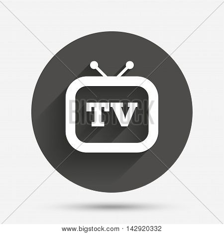 Retro TV sign icon. Television set symbol. Circle flat button with shadow. Vector