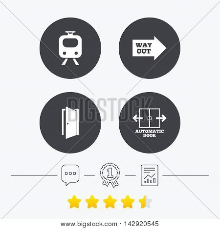 Train railway icon. Automatic door symbol. Way out arrow sign. Chat, award medal and report linear icons. Star vote ranking. Vector poster