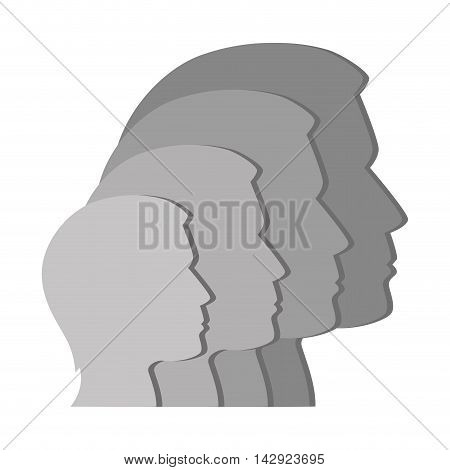 profile man person side silhouette connection corporate vector illustration isolted