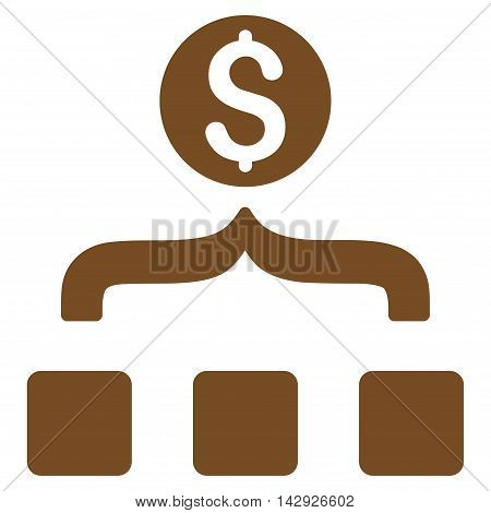 Money Aggregator icon. Vector style is flat iconic symbol with rounded angles, brown color, white background.
