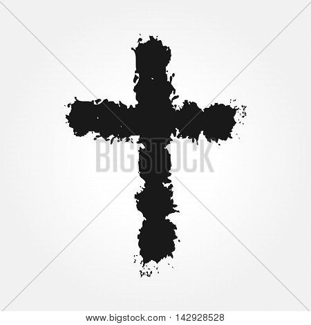 Latin cross. Christian symbol drawn scruffy brush. Grunge isolated.