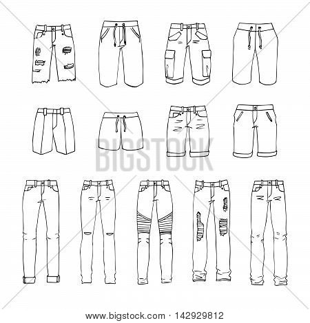 Hand drawn vector clothing set. 13 models of trendy men's shorts and jeans.