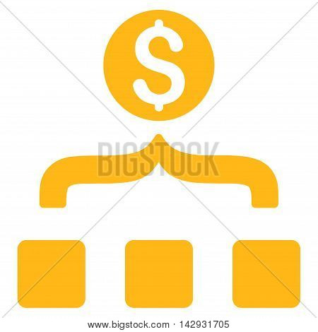 Money Aggregator icon. Vector style is flat iconic symbol with rounded angles, yellow color, white background.