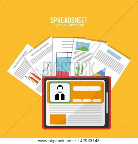 Spreadsheet tablet document infographic icon. Colorful design. Vector illustration