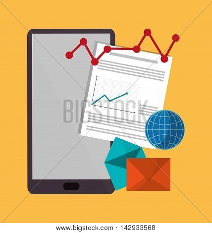 Spreadsheet smartphone envelope document infographic icon. Colorful design. Vector illustration