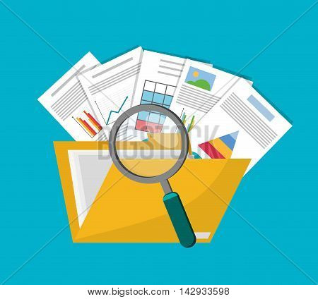 Spreadsheet lupe file document infographic icon. Colorful design. Vector illustration