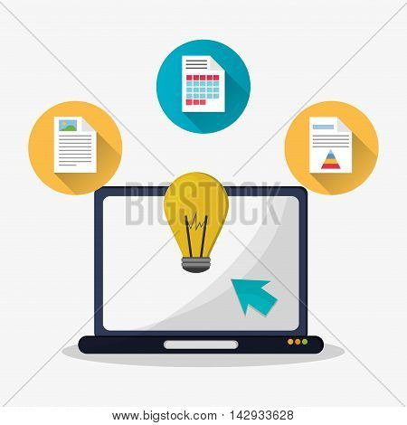 Spreadsheet laptop bulb document infographic icon. Colorful design. Vector illustration