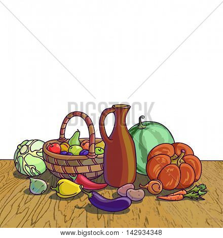 Autumn harvesting. Vector illustration of group of many fruit and vegetable. Fresh vegetables and fruits. Healthy Food.
