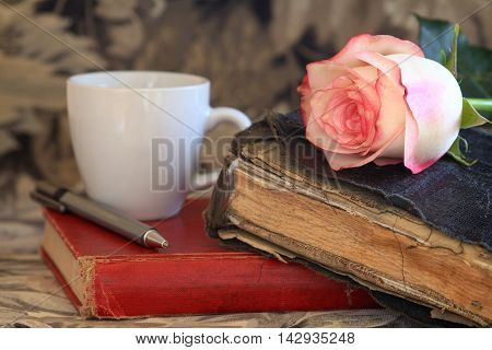 Pink Rose Laying on an old Bible