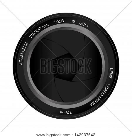 zoom lens shutter digital camera photography gadget vector illustration isolated
