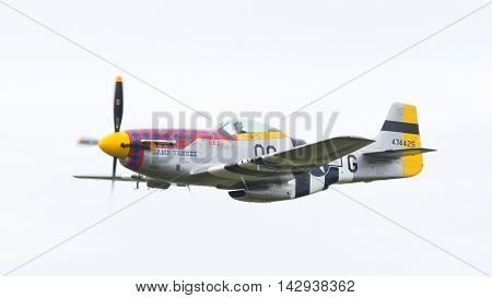 Leeuwarden, The Netherlands - June 10: P51 Mustang Displaying At The Dutch Air Force Open House. Jun