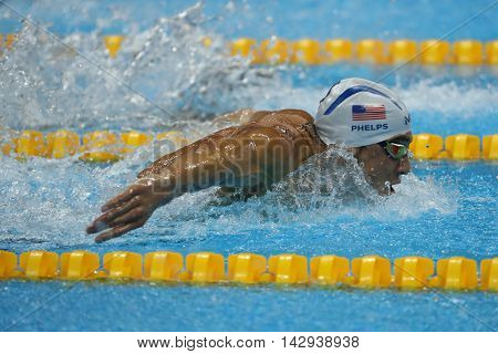 RIO DE JANEIRO, BRAZIL - AUGUST 8, 2016: Olympic champion Michael Phelps of United States swimming the Men's 200m butterfly at Rio 2016 Olympic Games