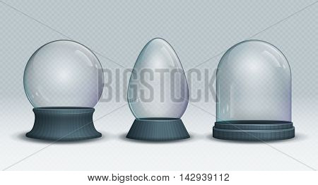 Set of Vector transparent empty snow globe. Christmas crystal ball.
